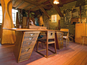 Wharton Esherick's, Saw Horse Table inspired Desk. 1929