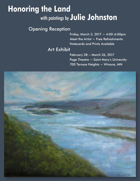Opening reception for honoring the land painting exhibit for 700 terrace heights winona mn